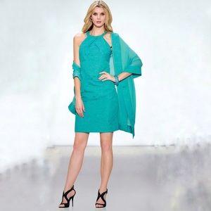 Carlisle moanna teal aqua halter cutaway dress G